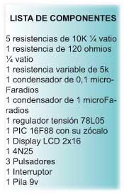 Intervalometro componentes