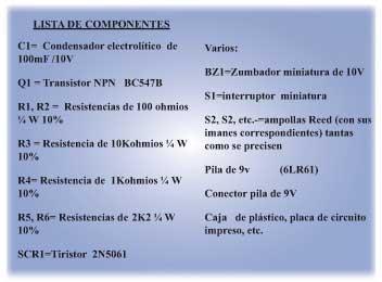 Sencilla alarma componentes