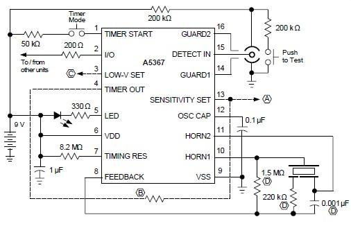 ionization smoke detector circuit using a5367