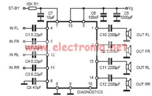 TDA7377 class AB car radio amplifier circuit design electronic project