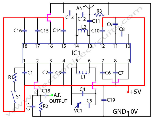 tda7000 fm radio receiver  circuit using Tuning Capacitor
