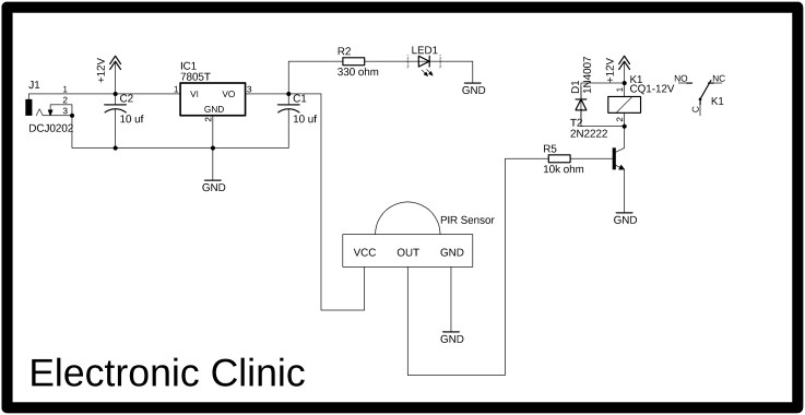 motion sensor light control circuit digram, in this image you can see the pir sensor is powered up using the 7805 voltage regulator