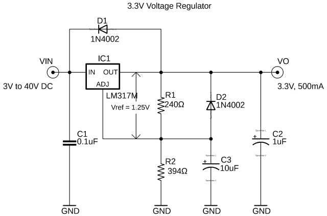 lm317 regulator, lm317 3.3v power supply circuit diagram