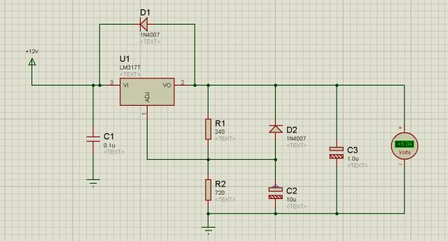 lm317 regulator, lm317 5v power supplies Proteus simulation