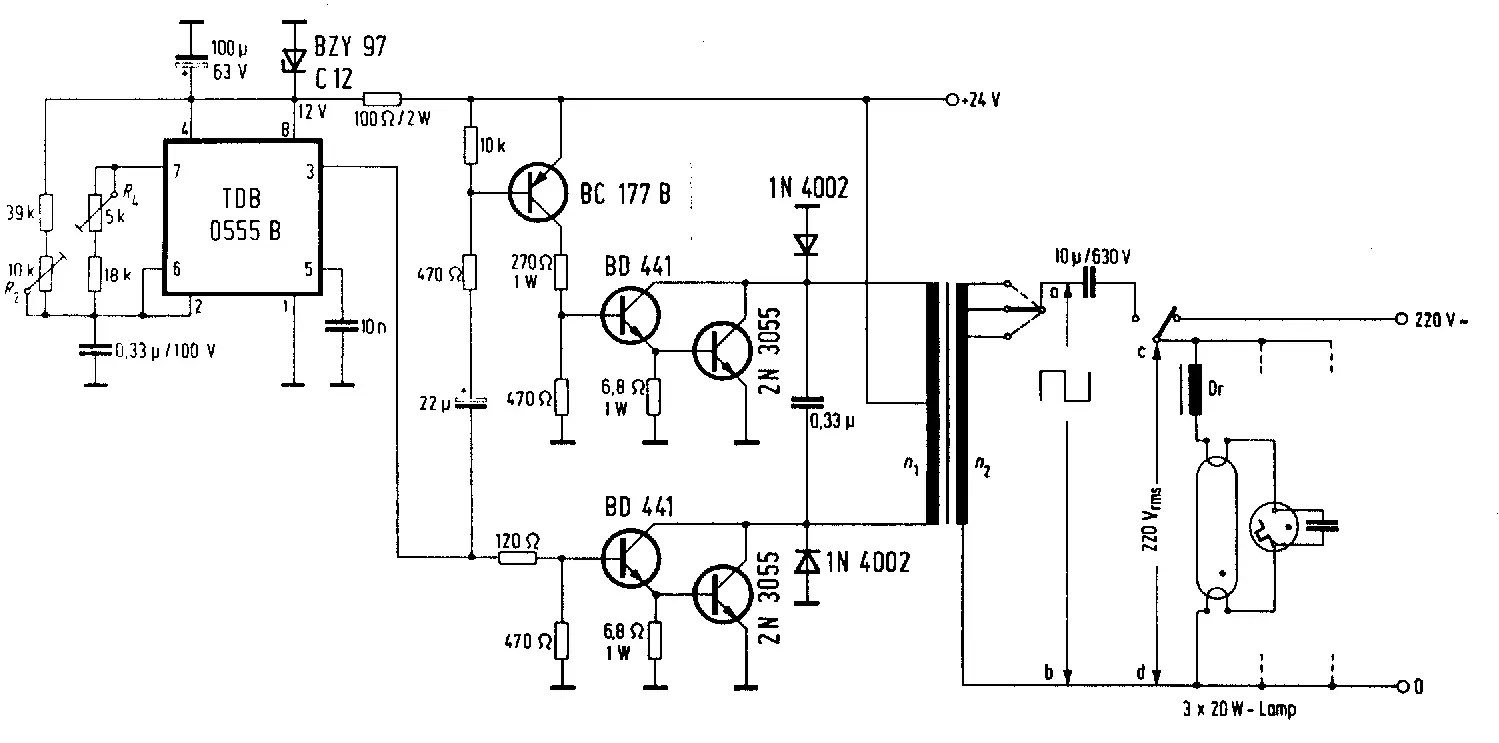 24Vdc to 220Vac 100 Watt, 50Hz Inverter Circuit Diagram