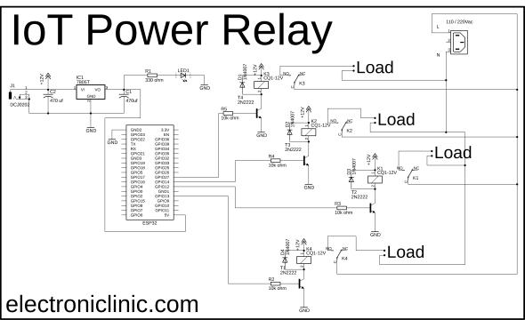 IoT Power relay 100A relay esp32 circuit diagram