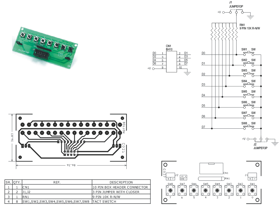 8 Tacttile Switch With High Or Low Output Jumper 2