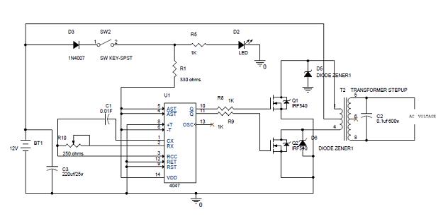 simple 100w inverter circuit diagram