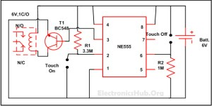 Touch ON and OFF Switch Circuit Diagram and Working