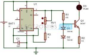 TV Remote Control Jammer Circuit using 555 Timer IC