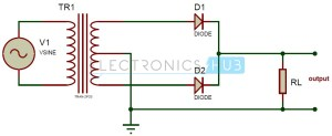 Full Wave Rectifier Theory, Circuit, Working and Ripple Factor