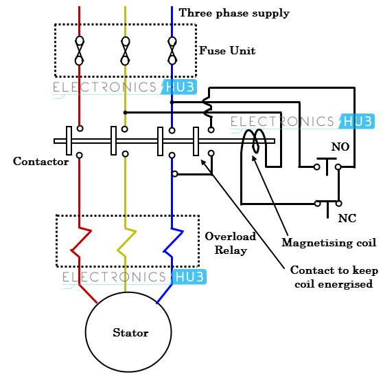 3 Phase Dol Wiring Diagram: Dol Motor Starter Control Circuit