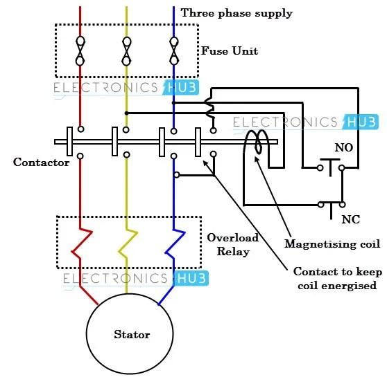dol motor starter control circuit