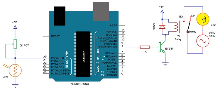 Usando 5V Relay on Arduino Circuit Diagram