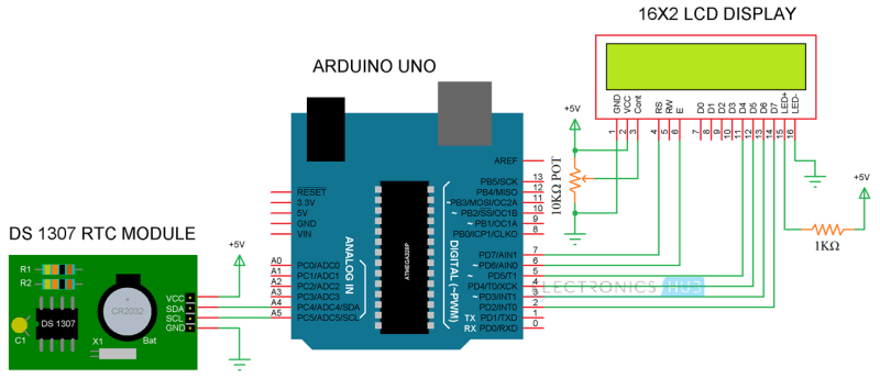 Arduino Real Time Clock DS1307 Tutorial Circuit 3