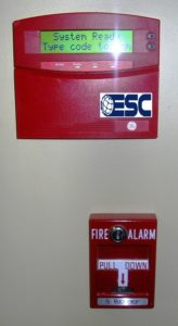 Fire alarm control keypad with a manual fire  pull (image)