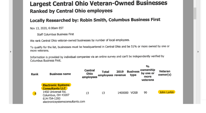 Columbus First largest minority-owned businenss (image of magazine ranking)