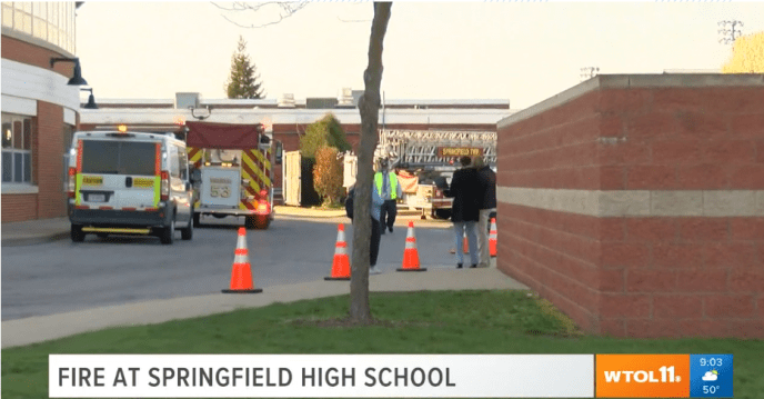 Springfield High School closing at 10 a.m. due to fire on roof of building The fire started on an AC unit on the roof as construction was being done. No one was injured. (image)