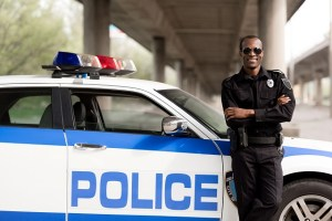 Typical police officer on the job (image)