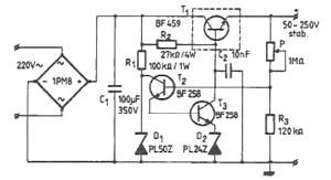 50250 volts high voltage adjustable regulator circuit