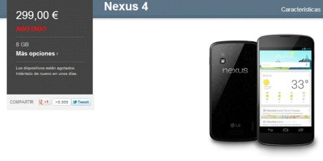 Nexus 4 sigue agotado