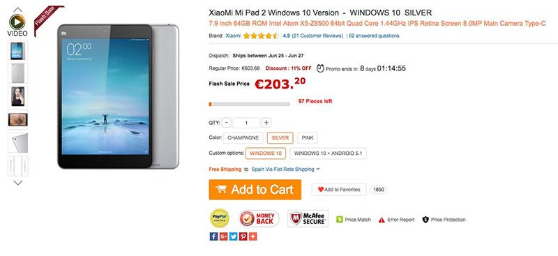 Xiaomi MiPad 2 Windows Oferta