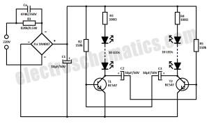 220V LED Blinker Circuit