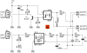 AC Light Dimmer Module Circuit with ZC Detector