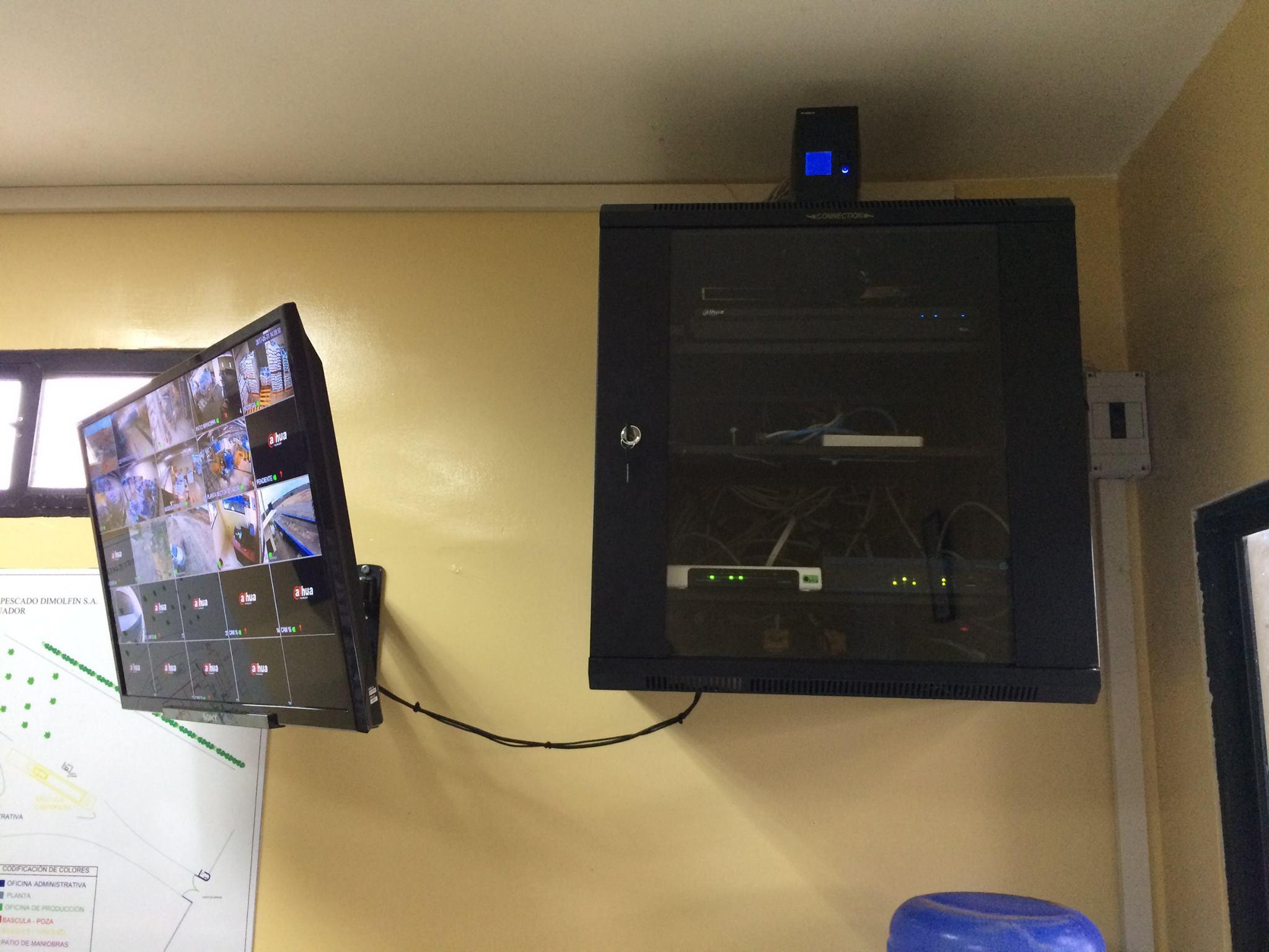Rack de cableado de cámaras de seguridad y monitoreo