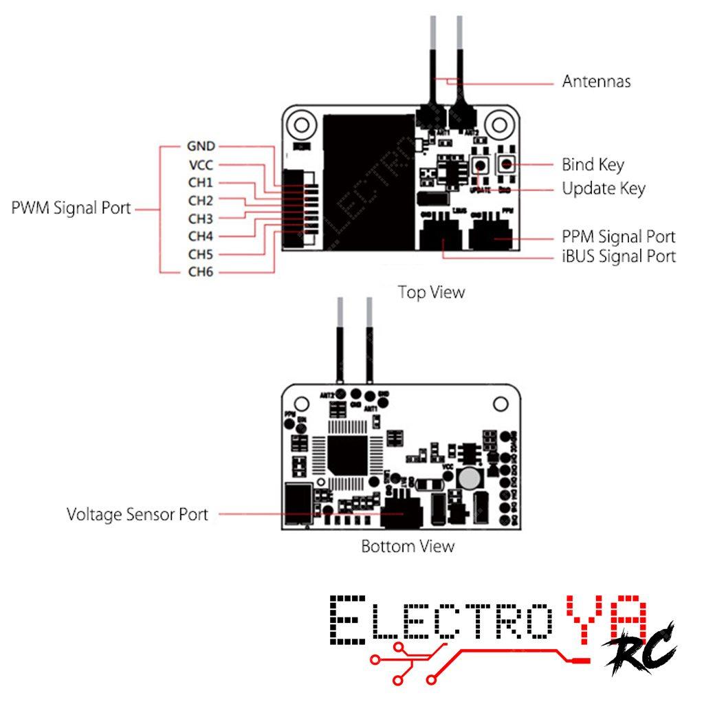 Reseptor Flysky Fs X6b Con Salida Ppm I Bus Pwm
