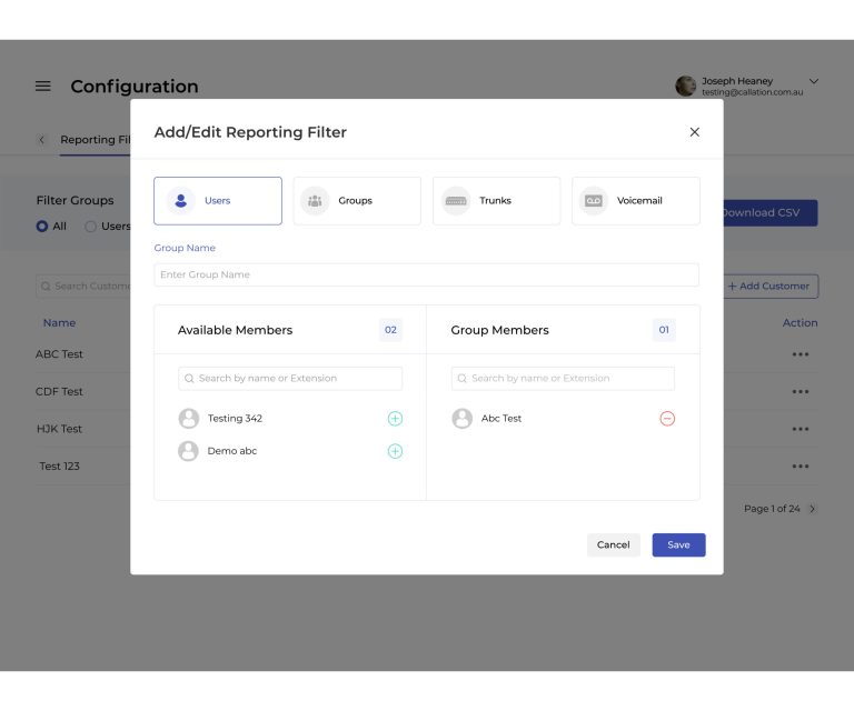 Configuration Reporting Filter Add v@x