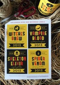 halloween wine labels