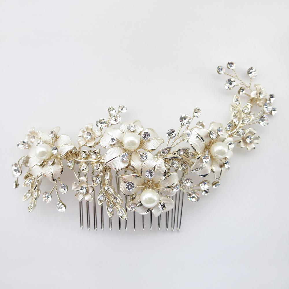Petite Flora Pearl Bridal Comb Elegant Bridal Hair