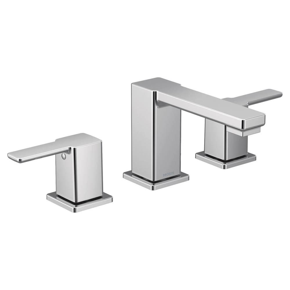 chrome two handle bathroom faucet