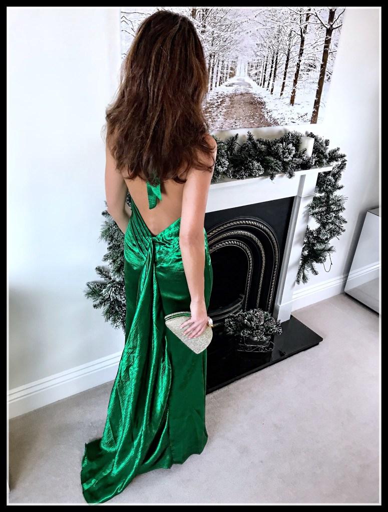 Elegant Duchess Fashion Blog - ASOS Jarlo High Neck Fishtail Maxi Dress With Open Back Detail, rose gold Office Tubular Strap Sandal. Christmas Party Dresses
