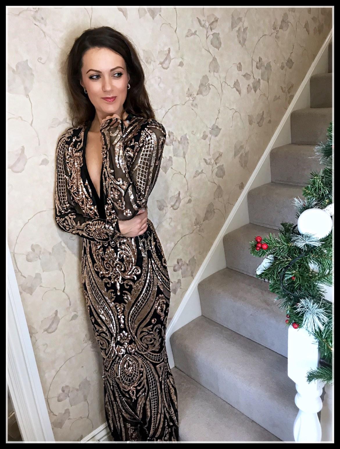 Stephanie Pratt – Deep V Neck Sequin Embroidered Maxi Dress – Champagne   Office Crystal Back Sandals   Coast Nadine Velvet Eyelet Bag   Swarovski earrings