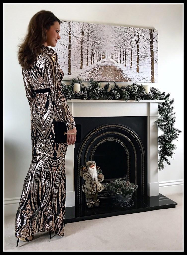 Stephanie Pratt – Deep V Neck Sequin Embroidered Maxi Dress – Champagne | Office Crystal Back Sandals | Coast Nadine Velvet Eyelet Bag | Swarovski earrings
