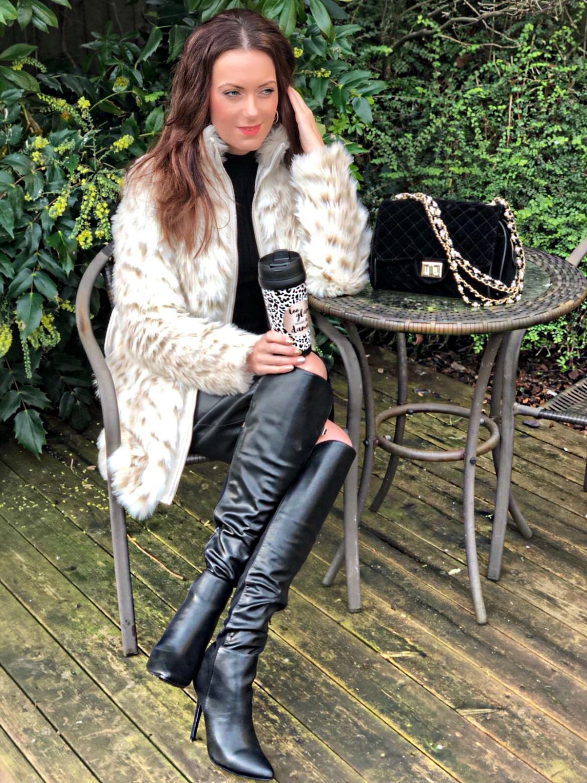 Marc B Quilted Velvet Cross Body | Lost Ink Panelled Knee High Boots | Lipsy Military Button Jumper | Lipsy Faux Fur Belted Coat | Swarovski earrings | Ted Baker gloves
