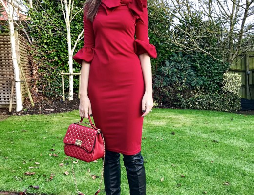 Elegant Duchess Boutique Exaggerated Bow High Neck Dress   Dune over-the-knee boots   V by Very Quilt Bag