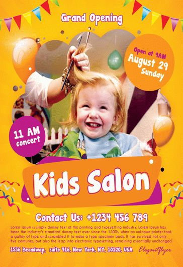 Kids Salon Flyer PSD Template By ElegantFlyer