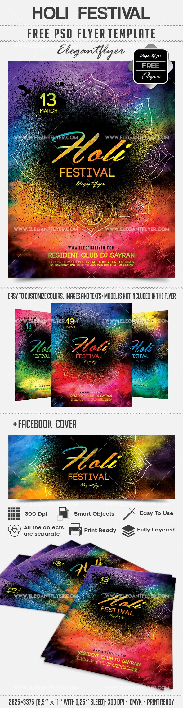 Holi Festival – Free Flyer PSD Template + Facebook Cover