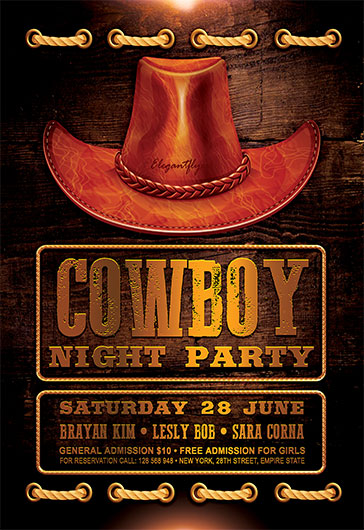 Cowboy Night Party Flyer PSD Template By ElegantFlyer