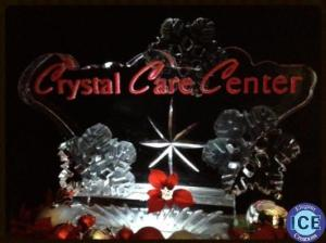 Logo with Snowflakes ice sculpture