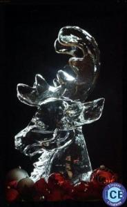 Reindeer bust ice sculpture