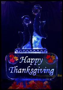Cornucopias on Happy Thanksgiving sign 1.5 blocks