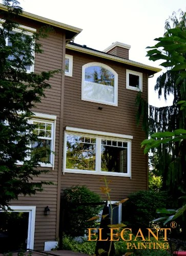 brown house with white trim