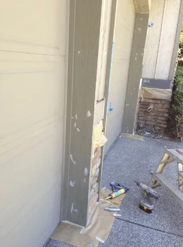 caulking garage door casing