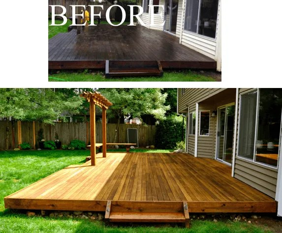 before and after painting deck