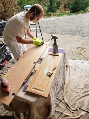 prepping cabinet doors