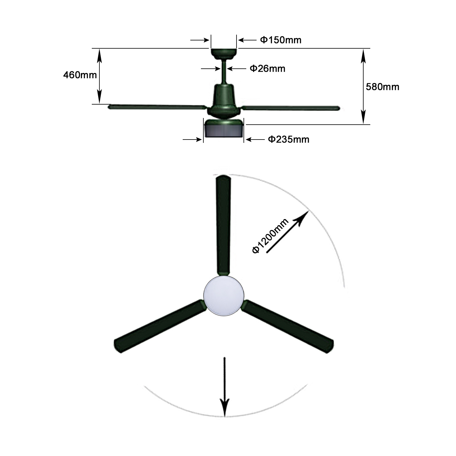 Remote Control Ceiling Fan Ac 48 And 52 3 Blade With 18 W Led Light 3 Speed